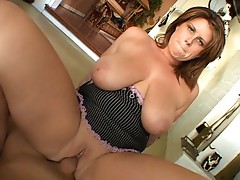 Busty Mom Blows & Bangs Big Cock On Sofa and Ends With Facial