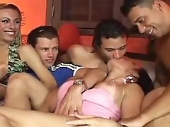 Hot shemales get fucked hard inside an sex party