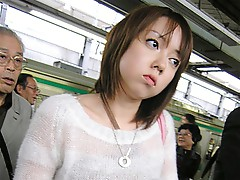 A poor Japanese is stalked onto the train, molested and dildo fucked