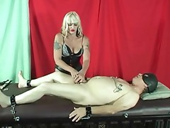 CBT beside clothespins, whipping and intense genital bondage