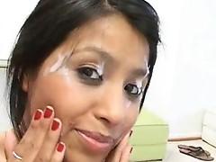 Hot 18 year mature Latina Mia licks the hard love stick dry