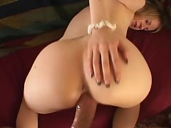 Blonde chick squirts, touches and fucks because she's so horny!