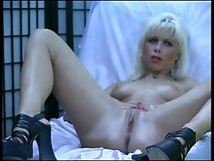 Blond bitch playing with her pussy