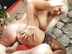 Busty mature slut getting hot with guy