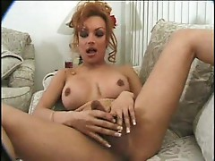 Horny shemale rubbing one off