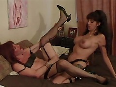 Crossdressing dude fucked with strap-on