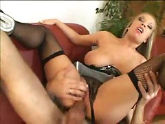 Big titted blonde gets it in her ass