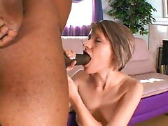 Ebony cock sucked off