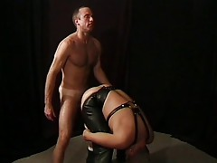 Leather wolf gets it in the ass