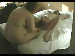 Getting dildo in the ass from a fat woman