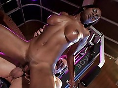 Black girl with perfect big boobs training