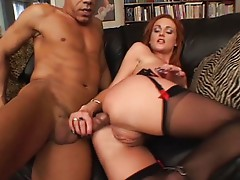 Hot redhead wide open for black dick