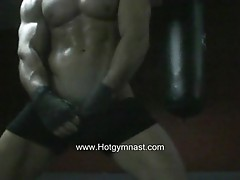 Hot gay stud works out