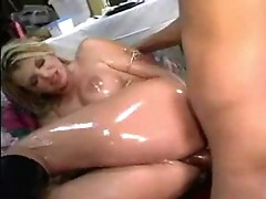 Vicky Vette oiled up and shiny