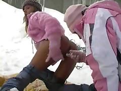 Lesbians having fun in the snow