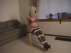 BLONDE LINGERIE MODEL TIED & GAGGED