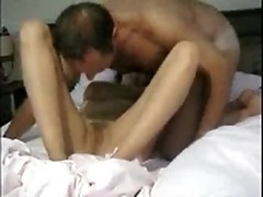 As soon as horny old fellow finishes fingering girl's cunt, she rides his dick