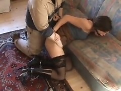Make your wife in handcuffs eat your erected cock