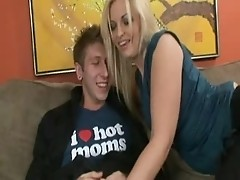Young man in the butt of the Blond MOM