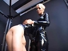 Male slave is humilated & drilled in anus by dom