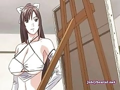 Anime babe rubbing a dick with her huge tits