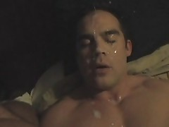 Hot cumshot - built guy gets a facial