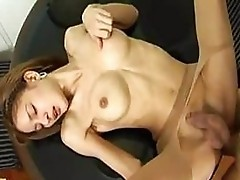 Petite ladyboy gets anal in pantyhose