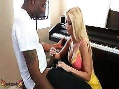 Barbi Sinclair gets distracted by BBC while giving piano lesson to stud.