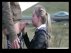 cock hungry girlfriend gives blowjob outside by busy highway