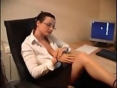 Lustful secretary MILF masturbating in the office