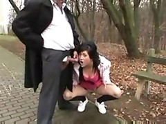 Old man fucks dirty teen girl in the public park.F70