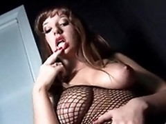 European dyke sluts dildoing their cunts in fishnet lingerie