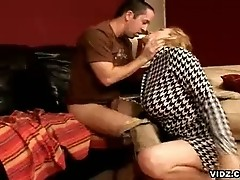 Blonde mom sucks furiously on studs thick headed dick