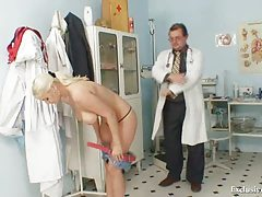 Busty Alexa Bold gyno exam and tits bondage at kinky clinic