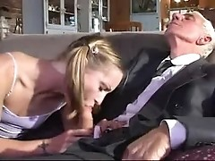 Teen sucking an old man