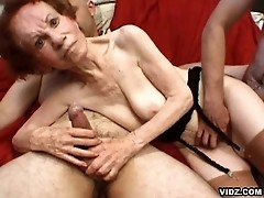 Old skinny granny performs an out of this world orgy