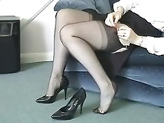 Playing with ffnylon stockings