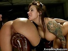 Anal training for two hot sluts
