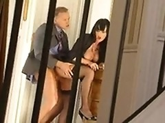 Police officer screwed nasty female lawyer in hall