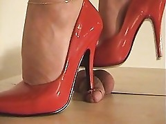 stepping on cock till it cums