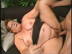 Horny Grandma loves young dude