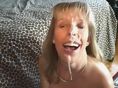 Am Milf gets huge facial from small hard young cock