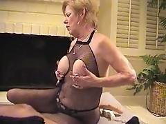 Granny in Fishnet Bodystocking Sucks and Fucks