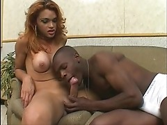 Stunning tgirl gets rammed by huge dark meat