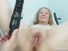 Gyno doctor speculum examines very old mature pussy Sofie