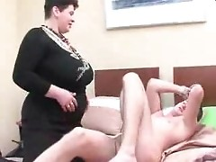 Busty mom and boy