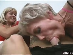Two cock hungry granny bitches corners cock