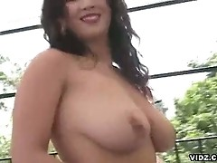 Bitch gets banged outside with enormous, fat cock