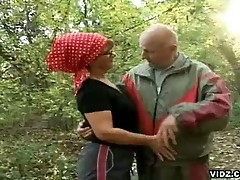 Filthy granny bitch seduces hot grandpa while jogging