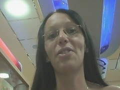 german girl flashing in burger king